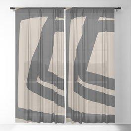 Neutral Abstract 4B Sheer Curtain