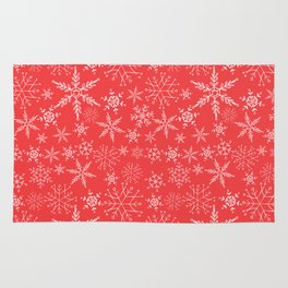red and white snowflakes Rug