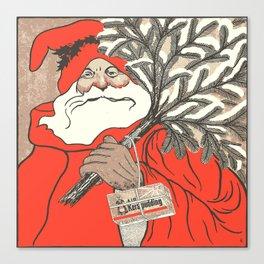 Christmas Pudding And Vintage Santa Vector Canvas Print