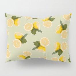 Yellow Citrus Lemon Fruit on Pale Lime Green Pillow Sham