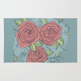 Three roses illustration Rug