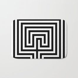 Cretan labyrinth in black and white Bath Mat