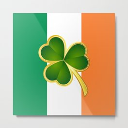 Flag of Ireland With Clover Metal Print