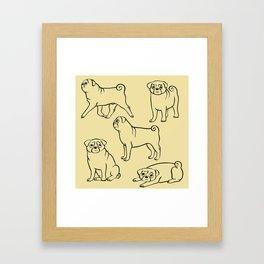 Pug Pattern Framed Art Print