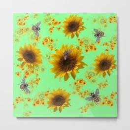 Sunflowers & Bees Botanical Metal Print
