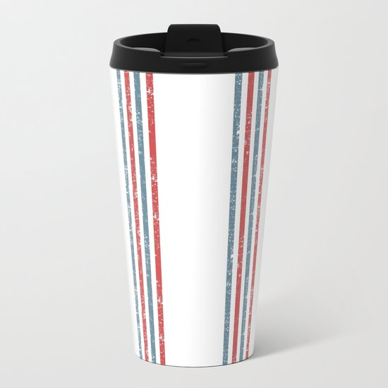 Maritime Beach Pattern- Red and Blue Stripes on White- Vertical #Society6 Metal Travel Mug