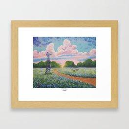 Blue bonnet field Framed Art Print