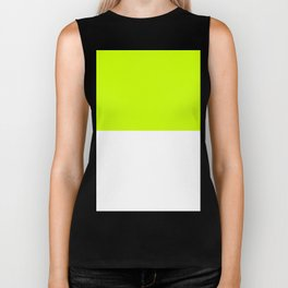 White and Fluorescent Yellow Horizontal Halves Biker Tank