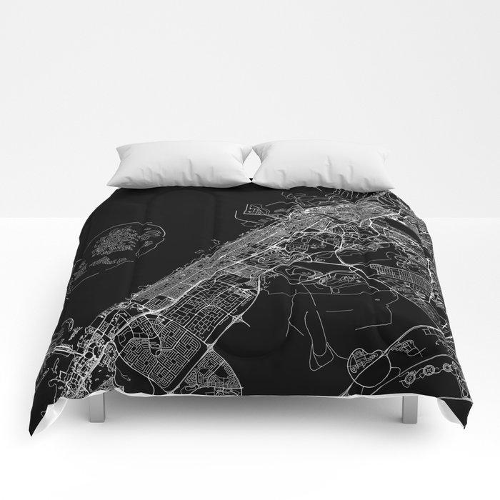 Dubai Black Map Comforters