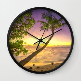 Tropical sunset beach with palms Wall Clock