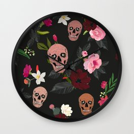 Skull and Roses, Vanilla, Cosmos Flower. Floral Colorful Bouquet Pattern Wall Clock