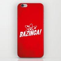 bazinga iPhone & iPod Skins featuring Atom Bazinga! by Nxolab