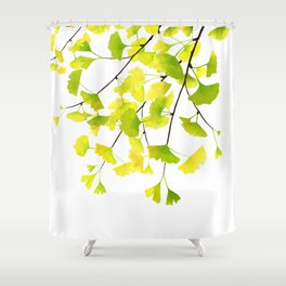 Ginkgo Branches Watercolor  Shower Curtain