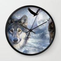 wolves Wall Clocks featuring Wolves by Julie Hoddinott