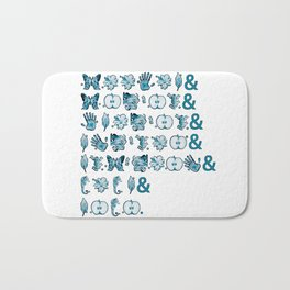 Fringe Glyph List (White) Bath Mat
