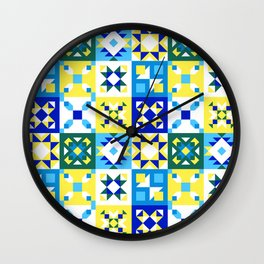 Moroccan tiles pattern with blue and yellow no4 Wall Clock