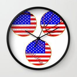 Sports Icons With Stars And Stripes Wall Clock