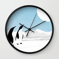 penguins Wall Clocks featuring Penguins by Rceeh