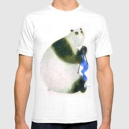 """Un panda tricote..."" Book cover T-shirt"