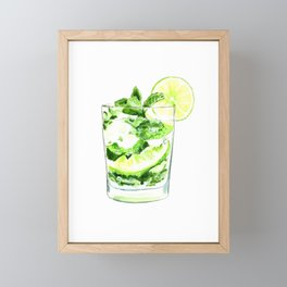 Cocktails. Mojito. Watercolor Painting. Framed Mini Art Print
