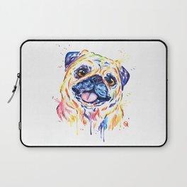 Fawn Pug Colorful Watercolor Pet Portrait Painting Laptop Sleeve