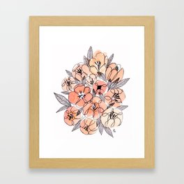 Pink Inky Floral - Watercolor Flowers - Ink Framed Art Print
