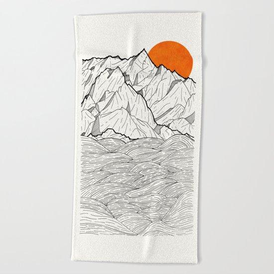 The orange sun Beach Towel