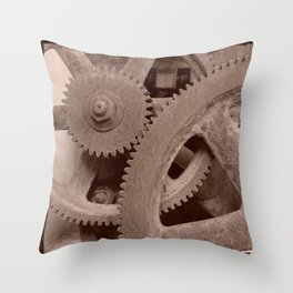 Big Gears (sepia ) Throw Pillow