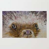 hedgehog Area & Throw Rugs featuring Hedgehog by Michael Creese