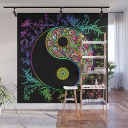 Yin Yang Bamboo Psychedelic Wall Mural