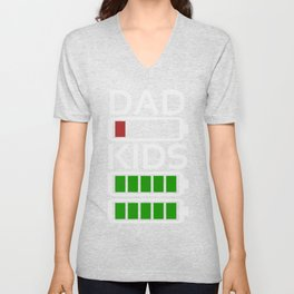 Dad Kids Tired Battery Low Energy Dad New Dad Gift Unisex V-Neck
