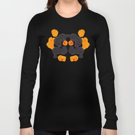 Orange & Black Inkblot Rorschach Diagram Long Sleeve T-shirt