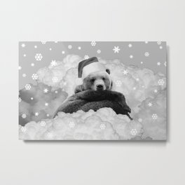 Brown Bear Santa Claus Winter Clouds Black & White Metal Print
