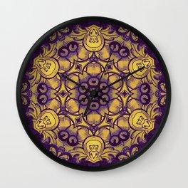 mandala 7 yellow purple #mandala Wall Clock