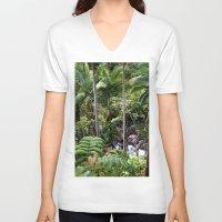 hawaiian V-neck T-shirts featuring Hawaiian Jungle by Moody Muse