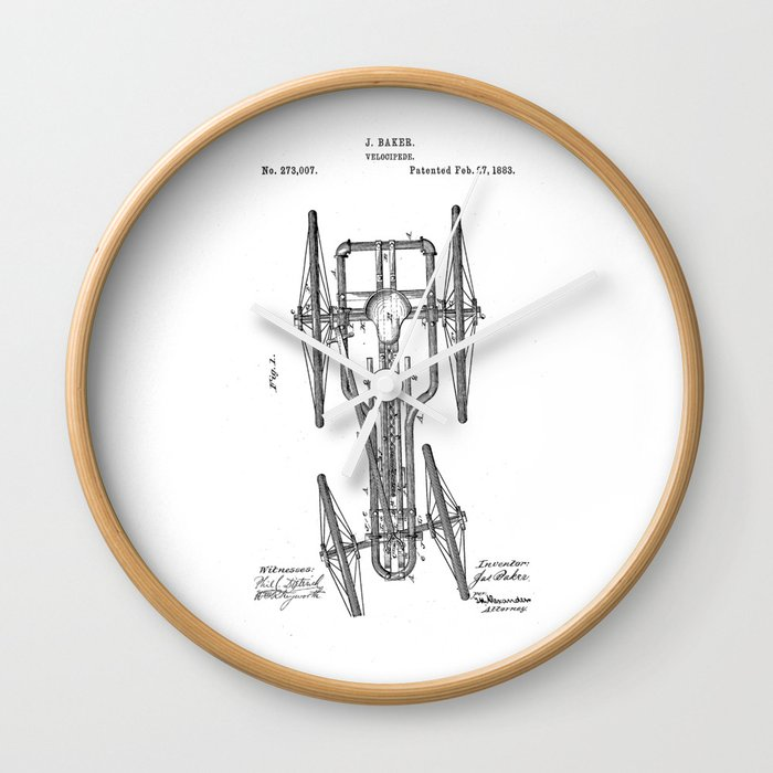 patent art Baker Velocipede 1883 Wall Clock