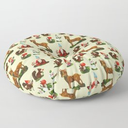 Vintage Christmas Woodland Deer Santa Snowman Watercolor Floor Pillow