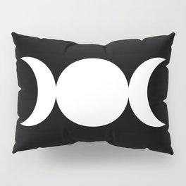 Triple Goddess Symbol – Divine Feminine – Maiden, Mother, Crone - White on Black Pillow Sham