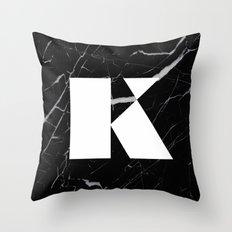 Black Marble - Alphabet K Throw Pillow