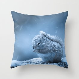 Snowstorm Squirrel Throw Pillow