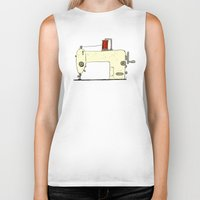 sewing Biker Tanks featuring Sewing machine by taichi_k
