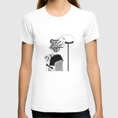 Octopus Salon LARGE White Womens Fitted Tee