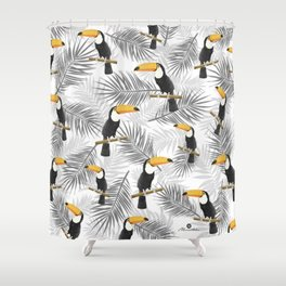Toucan with palm leaves Shower Curtain