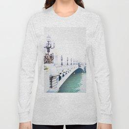 Pont Alexandre III Paris Bridge Watercolor Long Sleeve T-shirt