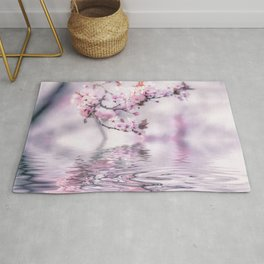 Zen Style Cherry Blossom and Water Rug