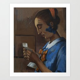 After: Woman in Blue Reading a Letter. Art Print