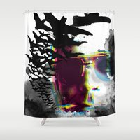 hunter s thompson Shower Curtains featuring Hunter S by theCword