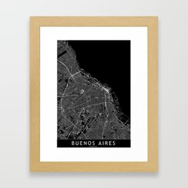 Buenos Aires Black Map Framed Art Print