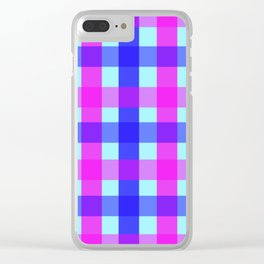 blue pink checks Clear iPhone Case