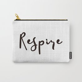 Breathe Print Square Black & white Respire Relax Meditation Art Inspire Yoga French Quote Typography Carry-All Pouch